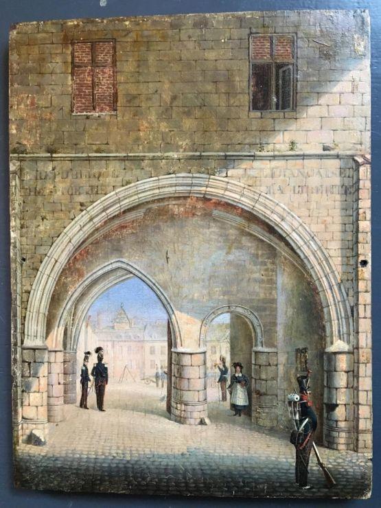 Картина маслом 'У казармы', ок. 1800 г.