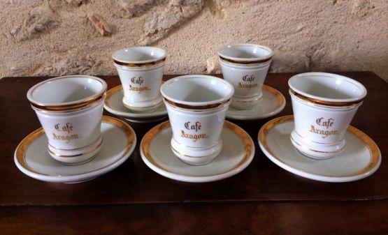 5 фарфоровых кофейных чашек, XIX в.