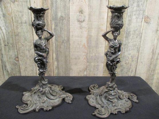 Два подсвечника, посеребренная бронза, к. XIX в.