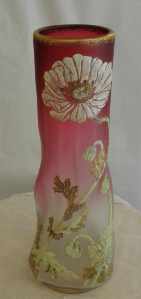 Витая ваза с маками, Legras/ Montjoye, 1920-1925 г