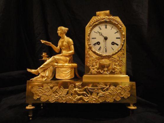 Часы 'Чтение' из позолоченной бронзы, XIX в.