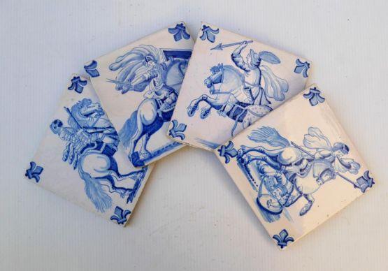 4 керамических изразца. Голландия, XVIII в.