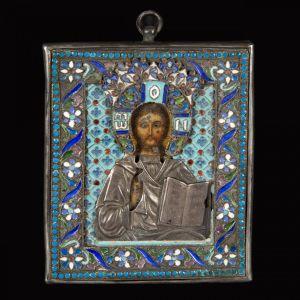Иконка Христа из перегородчатой эмали, XIX в.