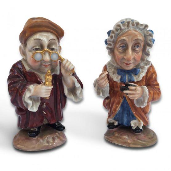 Фарфоровые статуэтки двух гномов.  Ginori, XIX в.