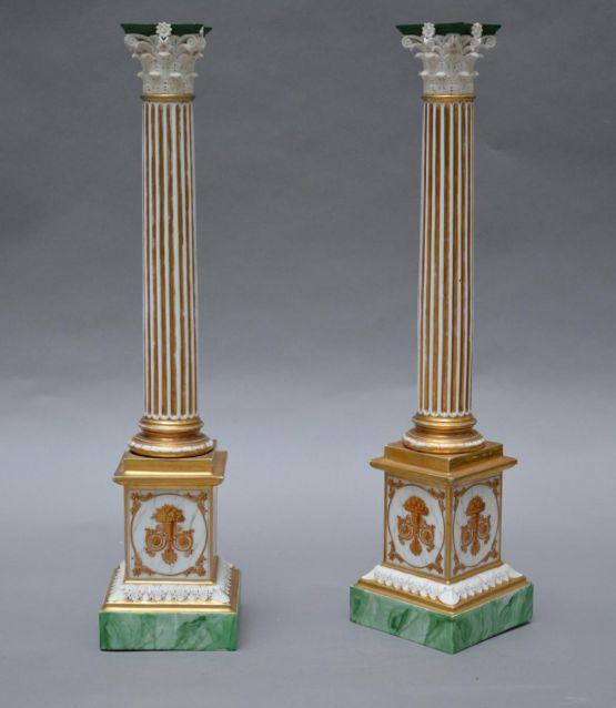 Две фарфоровые колонны. Париж, XIX в.