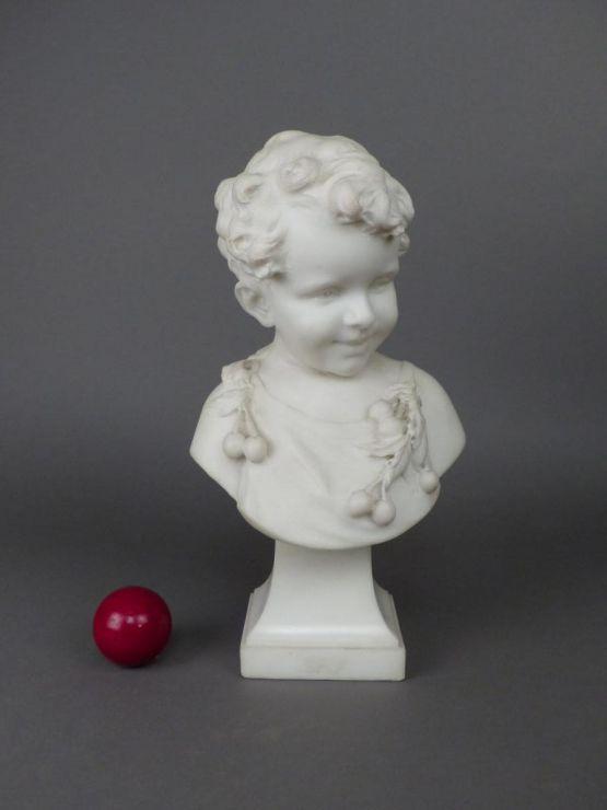 Бюст мальчика из мрамора, A. Del Perugia, XIX в.