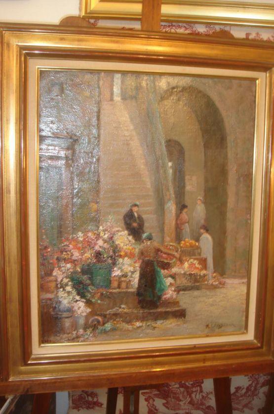 'Цветочный рынок в  Ницце'. H. Levasseur, ХХ в.