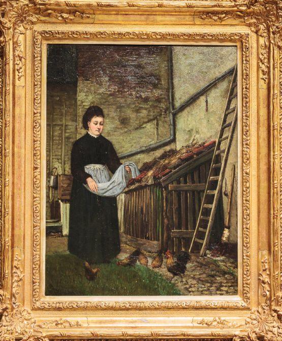 Картина 'Девушка с цыплятами'