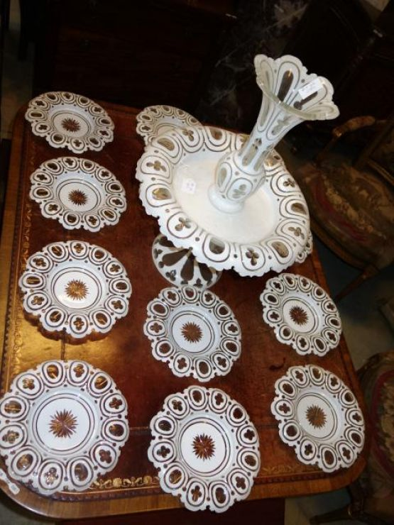 12 тарелок из богемского хрусталя. Чехия, XIX в.
