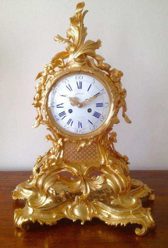 Позолоченные часы в стиле рококо, XIX в.