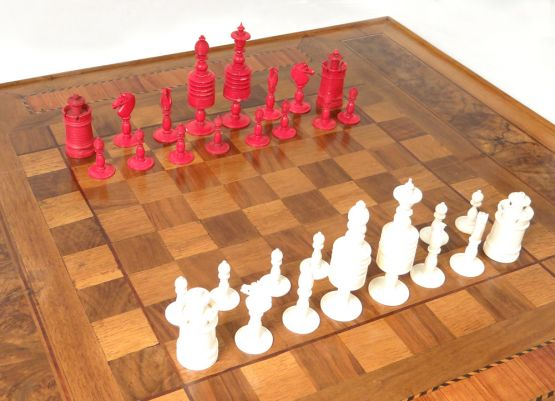 Резной шахматный набор, XIX в.