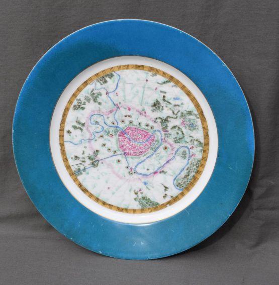 Тарелка из севрского фарфора с планом Парижа, XIX