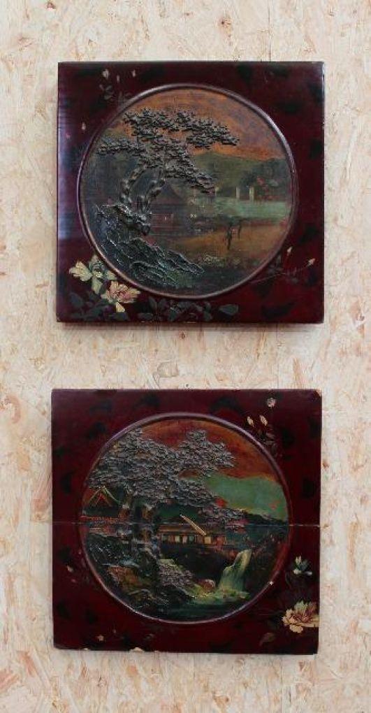 Два старинных японских панно
