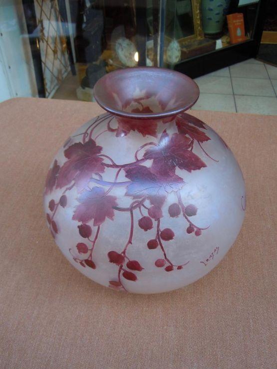 Круглая ваза из стекла, Legras, XX в.