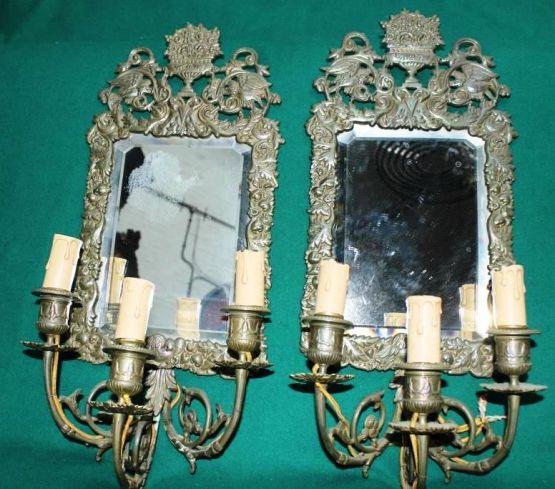 Пара зеркал со светильниками, XVIII в.
