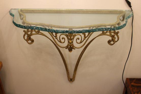 Итальянская консоль из стекла и латуни